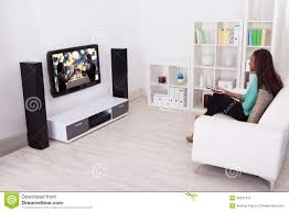 Livingroom Tv Woman Watching Tv In Living Room Stock Photo Image 46361375