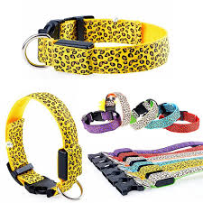 line Cheap Rechargeable Leopard Pet Dog Led Collar Cat Collars