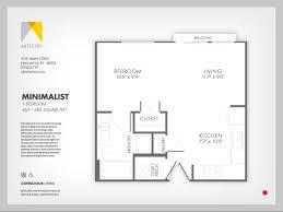 Minimalist Floor Plan Studio 1 Bath Apartment In Indianapolis In Artistry Apartments