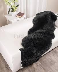 Rug Black 2 Pelt Charcoal Black Sheepskin Fur Rug Double Fursource Com