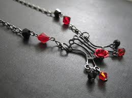 red gothic necklace images Gothic black corset crystal necklace gunmetal vamps jewelry jpg