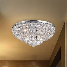 Extend A Finish Chandelier Cleaner Francisca 4 Light Chrome Finish Flush Mount Crystal Chandelier