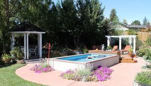 interior creative backyard swimming pool design with round above