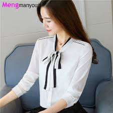 bow tie blouse plus size autumn chiffon blouse black white bow tie sleeve office