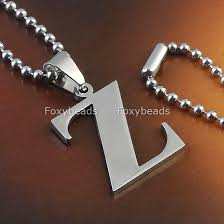 silver letter necklace pendants images A z quot letter initial alphabet stainless steel necklace pendant bead jpg