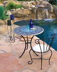 Mosaic Patio Furniture by Dining Room Blue Mosaic Bistro Table With Lack Legs And Single