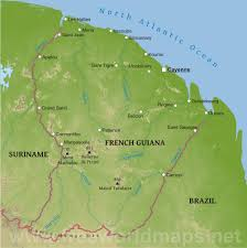 South America Physical Map by French Guiana Physical Map