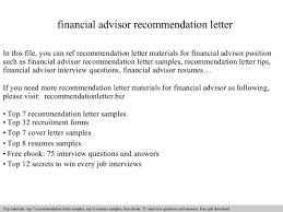 Financial Advisor Resume Samples Cover Letter Financial Advisor