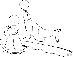 seal play the ball with a man coloring page free printable