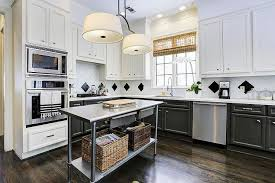stainless steel kitchen island kitchens two color kitchen with white cabinet and l shaped