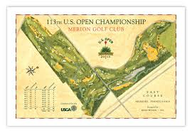 map us open signed 2013 u s open course map of merion golf club