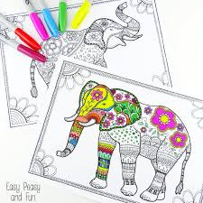 colouring elephants cool colorful elephant book