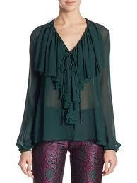 green womens blouse roberto cavalli ruffled silk blouse moss green s tops