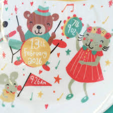 baby birth plates personalised musical baby birth plate by ethel and co