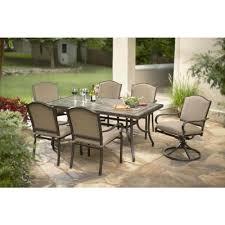 Patio Set With Swivel Chairs 7 Piece Patio Dining Set With Swivel Chairs Fraufleur Com