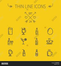 cocktail icon vector food drink thin line icon set web vector u0026 photo bigstock