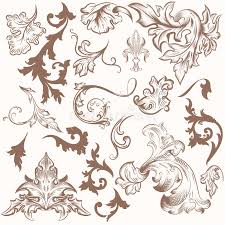 collection of vintage vector swirl ornaments for design stock vector