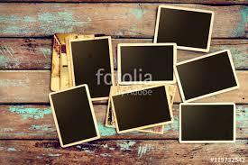 vintage photo album empty instant paper photo album on wood table blank photo