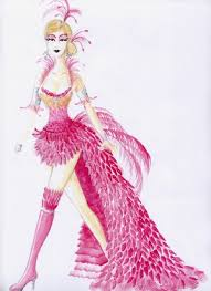 Vegas Showgirl Halloween Costume Flamingo Costume Rendering Costuming Flamingo