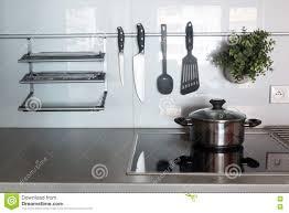 modern kitchen ware modern kitchen at home with kitchenware stock photo image 74098772