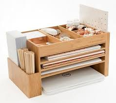 Bamboo Desk Organizer The Space Cube Bamboo Wood Desk Accessory Station Desk