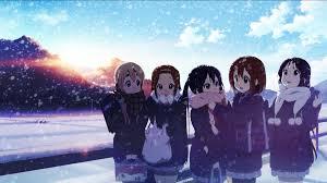 winter anime wallpaper hd wallpaper people anime girls snow winter k on akiyama mio