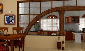 decor wooden dining room set and half wall room divider with
