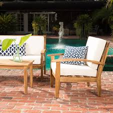 Chat Set Patio Furniture - amazon com preston 4 piece wood outdoor patio seating chat set w