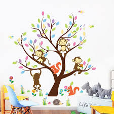 cartoon animal monkey tree wall stickers for kids children bedroom cartoon animal monkey tree wall stickers for kids children bedroom wallpaper removable pvc art decals home