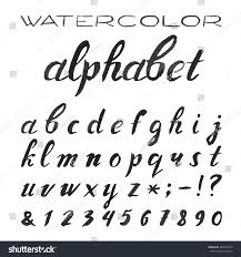 watercolor alphabet painted vector font handpainted black stock