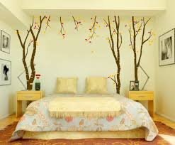 leafy wallpaper for romantic bedroom decorating ideas with elegant