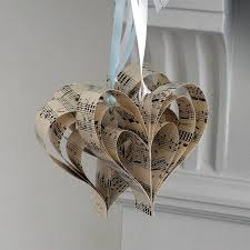 handmade sheet music heart decoration by made in words