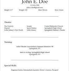 sensational design acting resume example 10 10 templates free