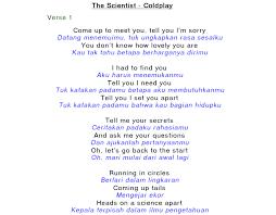 Lirik Lagu Review Lirik Lagu The Scientist Coldplay Reviewku Xyz