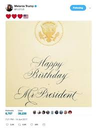donald trump u0027s birthday card from wife melania has a dark stain on