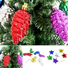 6pcs christmas decoration pine cones five pointed star meteor