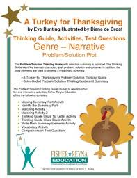 a turkey for thanksgiving by bunting activities and test questions