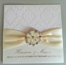 elegant ivory lace wedding invitations embellished with rhinestone