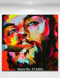 5 piece canvas wall art hand painted palette knife oil 100 hand painted palette knife figure painting smoking guevara