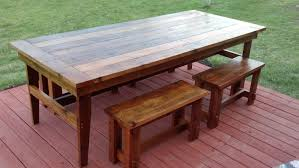 handmade custom farmhouse dining table and benches for gallery