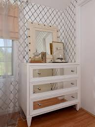 furniture 3 drawers mirrored chest on wooden floor and wall paper