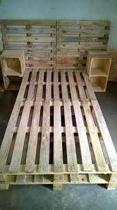 pallet bed frame with side tables and headboard 30 easy pallet