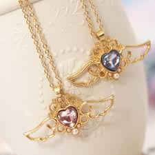 crystal necklace store images Sweet heart angel wings crystal necklace harajuku fashion jpg
