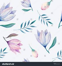 seamless wallpaper flowers leaves watercolor illustration stock