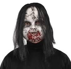 halloween costume with mask scary doll face ghost horror mask halloween fancy dress