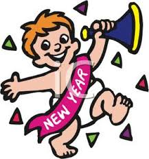 new year sash toddler wearing a new years sash blowing a horn clipart