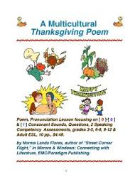 a multicultural thanksgiving poem by norma flores tpt
