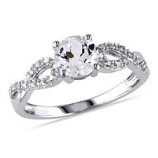 miadora 10k white gold 1 10ct tdw and created white - Overstock Engagement Rings