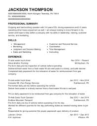 exle of a resume summary best tri axle water truck driver resumes resumehelp