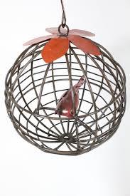 wrought iron ball with cardinal hanging decoration